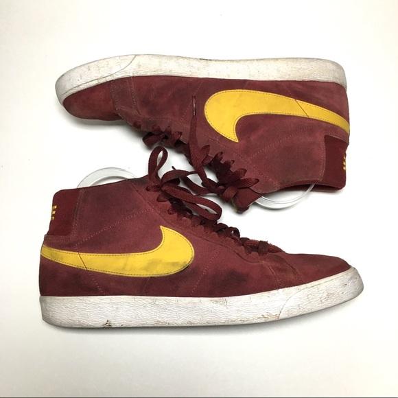 Nike Other - Nike burgundy yellow leather high top blazers